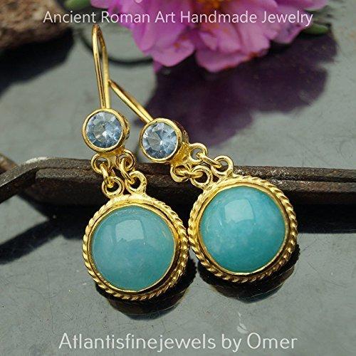 Roman Art Blue Topaz & Chalcedony Earrings 925 Sterling Silver 24k Gold Vermeil (Topaz Chalcedony Earrings Blue)