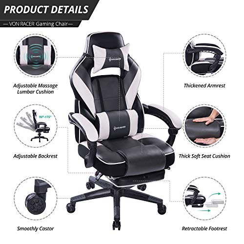 VON RACER Massage Reclining Gaming Chair - Ergonomic High-Back Racing Computer Desk Office Chair with Retractable Footrest and Adjustable Lumbar Cushion (Gray) by VON RACER (Image #2)