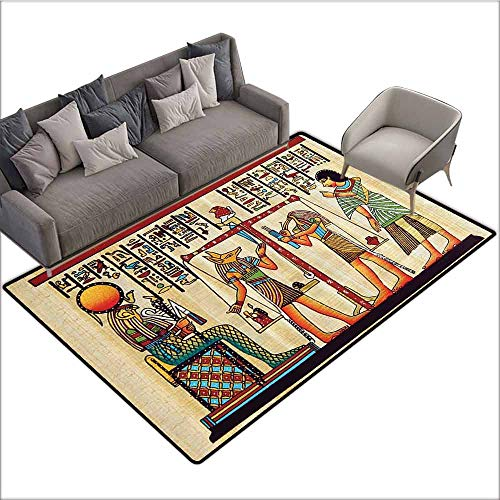 - Floor Mat Entrance Doormat Egyptian Decor Collection,Papyrus with Egyptian Ancient Manuscript History Picture Print,Ivory Paprika 60