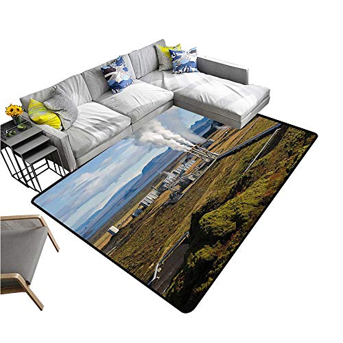 alsohome Contemporary Indoor Area Rugs Suburban Geothermal Energy Plant Carpet for Children Home Decorate 5' X 8'