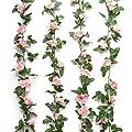 Yebazy Jinway Fake Rose Vine Garland Artificial Flowers Plants for Hotel Wedding Home Party Garden Craft Art Decor Pink