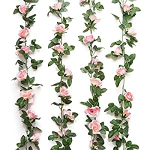 Jinway 2PCS(16FT) Fake Rose Vine Garland Artificial Flowers plants for Hotel Wedding Home Party Garden Craft Art Decor Pink 12