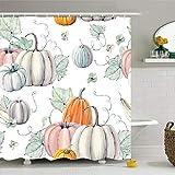 ZBLX Thanksgiving Shower Curtain,Autumn Pumpkin Bathroom Shower Curtain Waterproof Bath Curtain60 x 72 inches (155 cm X…