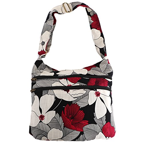 kilofly Bohemian Hippie Cotton Cloth Multi Pockets Shoulder Bag Handbag Tote