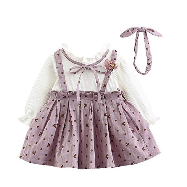 LZH Le Neonate Vestono l'Abbigliamento per Bambini in Cotone Rosa 2 Pezzi Gonna Lavorata a Maglia Abito da Principessa… 1