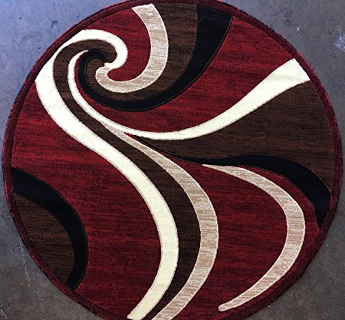 (Modern Round Abstract Contemporary Red Swirl Americana Area Rug Design 144 (7 Feet 3 Inch X 7 Feet 3 Inch ))
