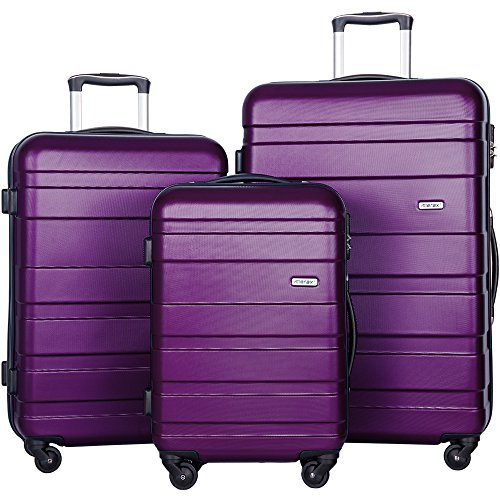 Merax Aphro 3 Piece Luggage Set Lightweight ABS Spinner Suitcase (Purple) by Merax.