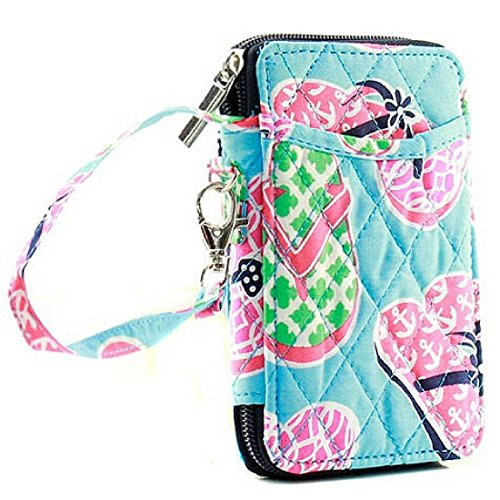 Wristlet Wallet for Girls Quilted Fun Designs with Phone Pouch (Flip Flops)