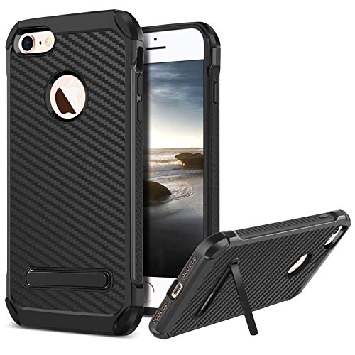 BENTOBEN Case for iPhone 8, 2 in 1 Hybrid Hard PC Cover Soft TPU Bumper Laminated with Carbon Fiber Texture Chrome Shockproof Protective Case with Kickstand for Apple iPhone7/8 for Girls, Women -Black