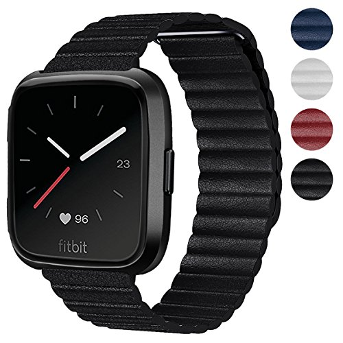 Shangpule Compatible Fitbit Versa Bands Women Man, Black Genuine Leather Loop with Unique Magnetic Strap Replacement Wristbands Accessories Compatible Fitbit Versa Fitness Smart ()