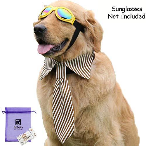 Bolbove Adjustable Pet Neck Tie Collar Stripes Neckwear Large Dogs (Brown)