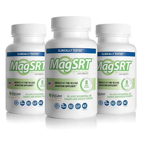 (MagSRT - Jigsaw Health - Premium, Organic, Slow Release Magnesium Supplement - Active, Bioavailable Magnesium Malate Tablets with B-Vitamin Co-Factors, 240 Tablets (3-Pack))