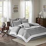 Comfort Spaces - Malcom Comforter Set - 7 Piece – Grey - Queen Size, Includes 1 Comforter, 2 Shams, 1 Bedskirt, 2 Euro Shams, 1 Decorative Pillow