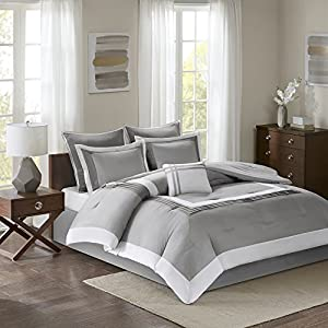 Comfort Spaces - Malcom Comforter Set - 7 Piece – Grey - King Size, Includes 1 Comforter, 2 Shams, 1 Bedskirt, 2 Euro Shams, 1 Decorative Pillow