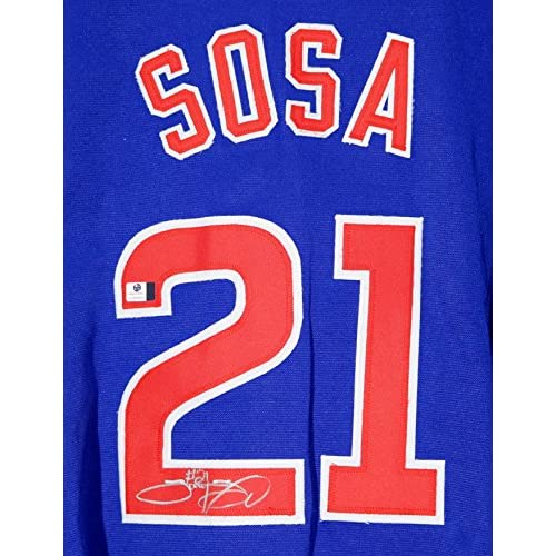 on sale be0c4 1767a Sammy Sosa Chicago Cubs Signed Autographed Blue #21 Jersey ...