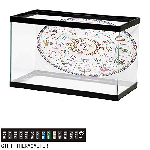 (wwwhsl Aquarium Background,Zodiac,Astrology Map with Descriptions Forecast for Person Future Birth Natal Earth Theme,Multicolor Fish Tank Backdrop 24