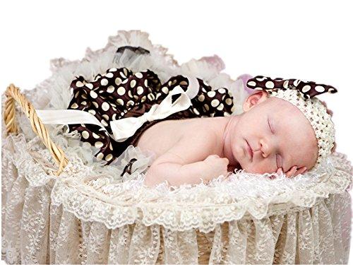 brown and beige polka dot dress - 1