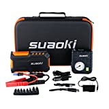 Suaoki 600A Peak Portable Car Jump Starter/Jumper Pack 18000mAh with Air Compressor and LED Flashlight for Truck Motorcycle Boat Automotive