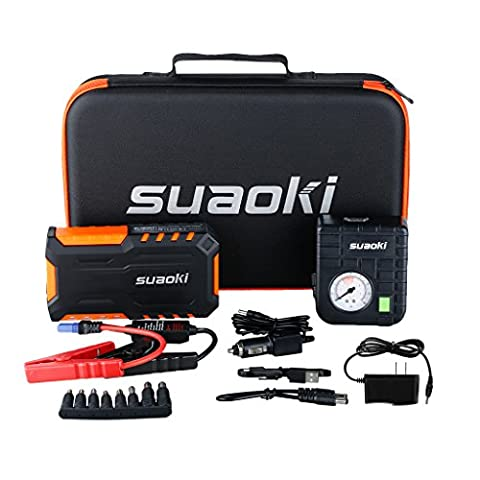Suaoki 600A Peak Portable Car Jump Starter / Jumper Pack 18000mAh with Air Compressor and LED Flashlight for Truck Motorcycle Boat Automotive (Air Compressor Jumper)