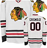 EDGE Chicago Blackhawks NHL Jerseys #00 Clark Griswold Hockey AWAY WHITE Jersey Size 48/M (ALL are Sewn On and Stitched)