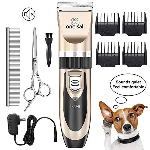 ONEISALL Dog Shaver Clippers Low Noise Rechargeable Cordless Electric Quiet Hair Clippers Set for Dog Cat (Best Cat Grooming Clippers)
