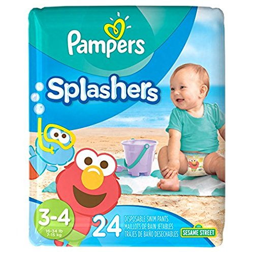 Pampers Splashers Disposable Swim Diapers, Size 3/4, 24 Count, - Online Products Swimming