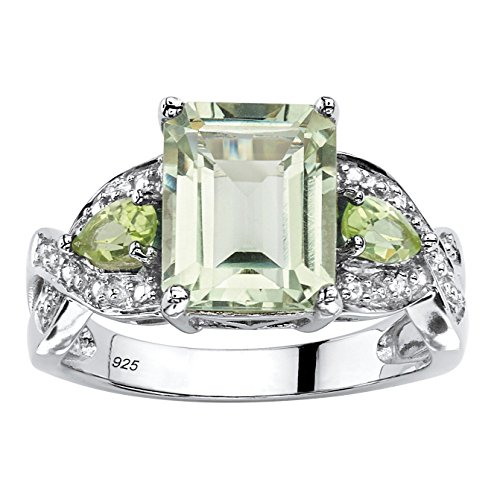 Emerald-Cut Genuine Green Amethyst and Peridot Platinum over .925 Sterling Silver Ring