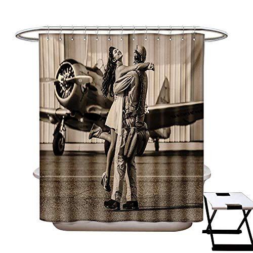 Vintage Airplane Shower Curtains Fabric Extra Long Brunette Young Woman Hugging a Pilot Historical Aircraft Homecoming Image Print Bathroom Set Hooks W72 x L96 Sepia