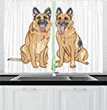 Lunarable German Shepherd Kitchen Curtains, Cartoon Dogs with Their Tongues Hanging Out Happy Animal Design, Window Drapes 2 Panel Set for Kitchen Cafe, 55 W X 39 L Inches, Pale Pink Brown Taupe Review