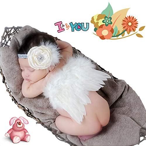 Jackcell Newborn Photography Props Angel Wings Costume, Outfit Baby Girl Picture Props with Flower Headband (White)
