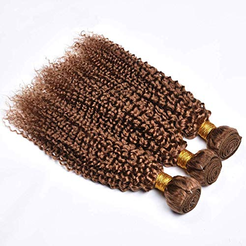 One Piece Bundle - Full Shine Hair Bundle Human Wefts 18 Inch Remy Real Hair Bundle Extensions Color #27 Honey Blonde One Piece Bundle Weft Extensions Weft Hair Kinky Curly Real Blonde Human Invisible Hair Weft 100G