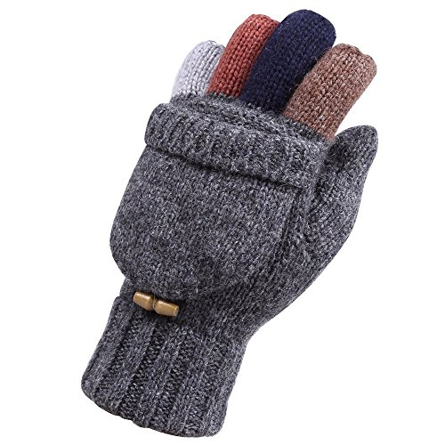 Warmen+Men%27s+Wool+Knitted+Convertible+Winter+Fingerless+Driving+Gloves+Mitten+with+Fold+Back+Pocket+%28One+Size%2C+Dark+Grey+%28+2016+New+Version+%29%29