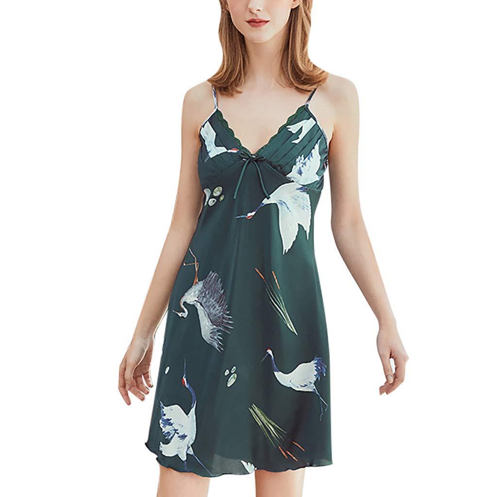 Psunrise Pijamas Women Soft Lace Bow Sleepwear Print Sling Satin Nightdress Lingerie Underwear(L, Green)
