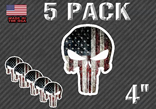 Pack Of 5 Punisher Sticker Decal American Flag (5PunAmerFlag)