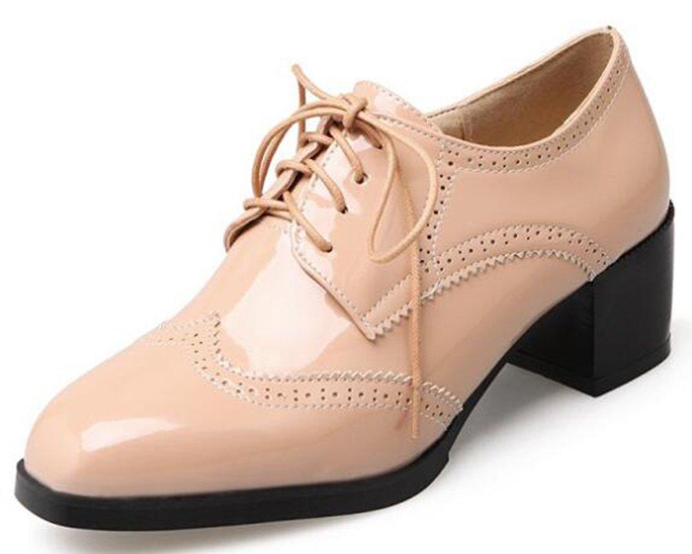 SHOWHOW Damen Quadratisch Zehe Patent Brogue Chunky Heels Schnuuml;rhalbschuhe33 EU|Pink