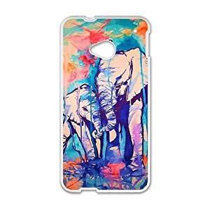 HTC One M7 Phone Case Cover White Elephant Pattern EUA15992387 Phone Case For Men Unique