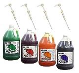 Cherry, Grape, Lemon Lime, Orange Snow Cone & Shave Ice Syrup-4/1 Gallons W/pumps