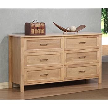 Amazon Com Olympus Natural Six Drawer Large Wood Dresser