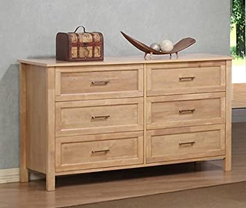 olympus natural six drawer large wood dresser chest