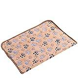 Warm Cartoon Paw Print Cushion for Puppy Fleece Soft Blanket Bed Mat - S, Tan