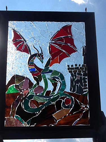 Stained Glass Dragon Window Art Sun Catcher by Mountain Mosaics