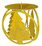 Club Pack of 72 Yellow Christmas Tree Pillar Candle Holders 4.25''