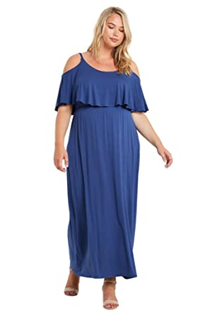69f93181a1 Amazon.com  Women s Jersey Knit Ruffled Cold Shoulder Flared Maxi Comfy  Summer Classic Plus Dress USA  Clothing