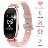 Smart Bracelet, TechCode Bluetooth Waterproof Smart Watch Fashion Ladies Heart Rate Monitor Fitness Tracker Smart Wristband for Android iOS iPhone X/8/7/6, Samsung S8/S9+ (Rose Gold)