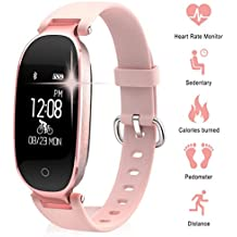 Smart Gym Bracelet, TechCode Bluetooth Waterproof Smart Sports Watch Fashion Ladies Heart Rate Monitor Fitness Tracker Girls Wristband for Android IOS iPhone X/8/7/6, Samsung S8/S9+ (Rose Gold)