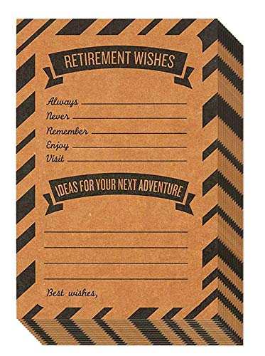 Retirement Card - 50-Pack Happy Retirement Cards Bulk, Retirement Well Wish and Advice Cards, Includes Envelopes, Perfect for Retirement Parties, 4 x 6 Inches, Kraft ()