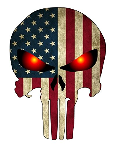 NI288 Punisher with American Flag and Glowing Eyes Decal Sticker | 5