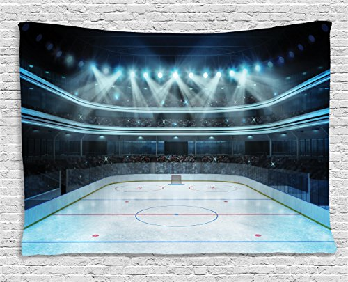 (Ambesonne Hockey Tapestry, Photo of a Sports Arena Full of People Fans Audience Tournament Championship Match, Wall Hanging for Bedroom Living Room Dorm, 80 W X 60 L Inches, Dark Blue)