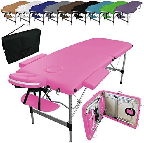 Linxor ® Mesa de masaje plegable 2 zonas de aluminio + accesorios ...