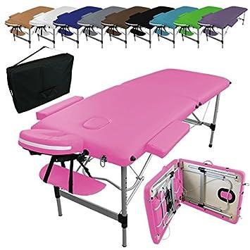 Linxor ® Mesa de masaje plegable 2 zonas de aluminio + accesorios y bolsa de transporte - Nueve colores - Norma CE: Amazon.es: Salud y cuidado personal